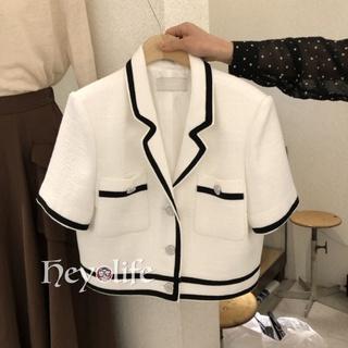 Korean Lapel Button Short Sleeve Jacket Summer Office Professional Suit
