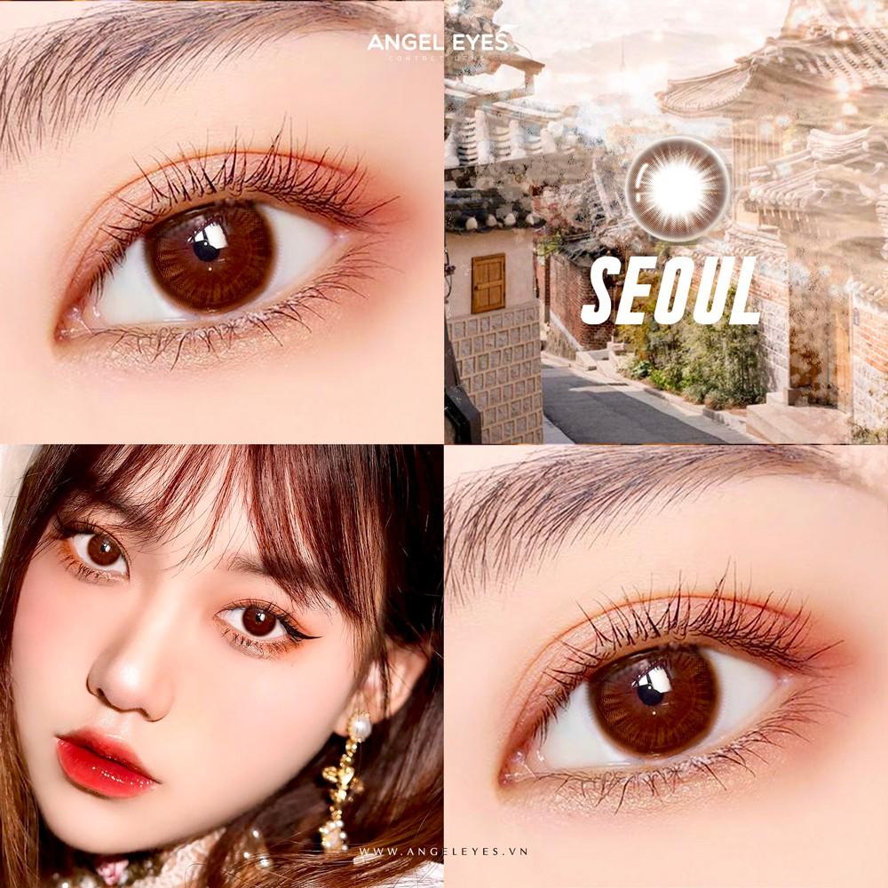 Lens nâu tự nhiên Angel Eyes SEOUL có cận - GDia 12.8mm - Độ cận 0-8