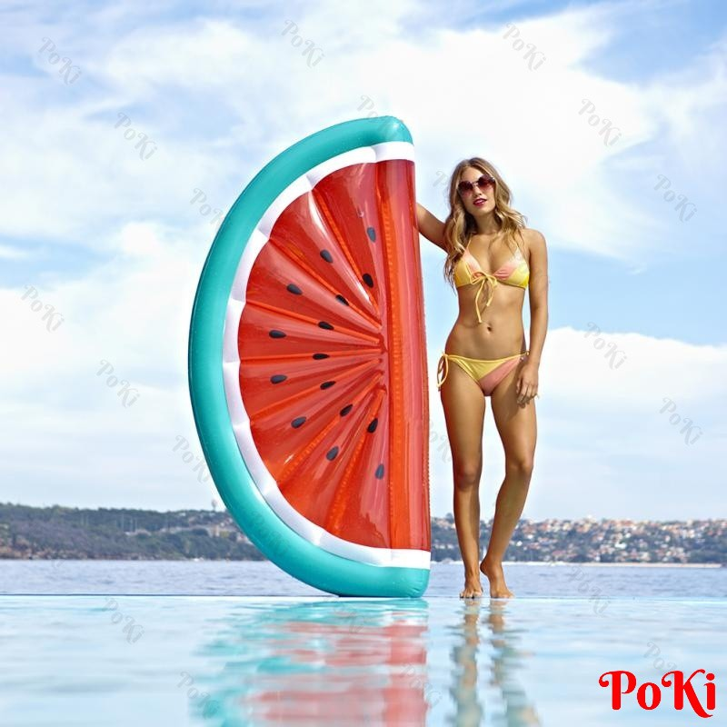 Phao bơi Dưa Hấu KHỔNG LỒ 180x90cm, thiết kế gấp gọn, dễ sử dụng, chất liệu thân thiện với môi trường - POKI