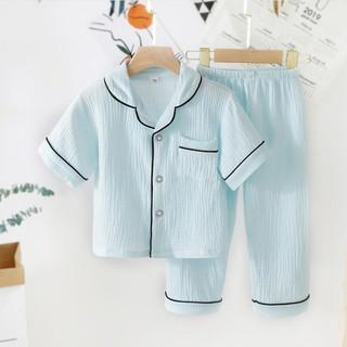 Bộ Đồ Ngủ Cộc Tay Cho Bé Sâu Shop, Bộ Pijama Chất Đũi Nhăn Cực Mát Cho Bé Gái Bé Trai Từ 6-28kg