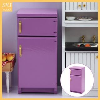 Tủ Lạnh Mini Bằng Gỗ Trang Trí Nhà Búp Bê