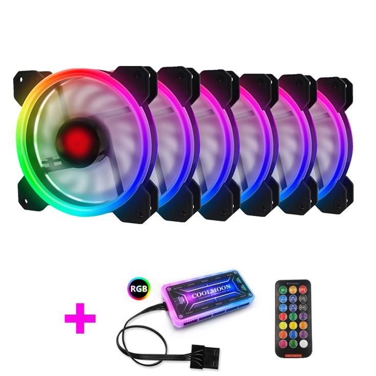 Bộ 6 Quạt Tản Nhiệt, Fan Case Coolmoon V2 Led RGB Dual Ring - Kèm Bộ Hub Và Remote