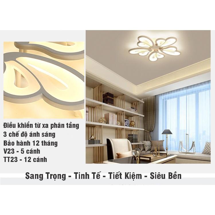 Đèn Ốp Trần - Đèn Áp Trần Trang Trí Phòng Phòng Khách, Phòng Ngủ, Phòng Ăn 3 Chế Độ Sáng Có Điều Khiển Từ Xa HB88