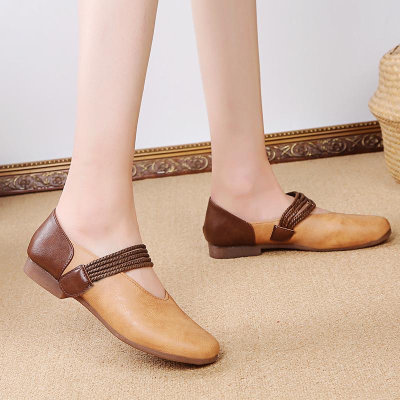 Mary Jane Giày Bệt, Giày Đế Bằng Cổ Điển Ngọt Ngào Theo Phong Cách Dân Tộc, Giày Búp Bê Mũi Tròn