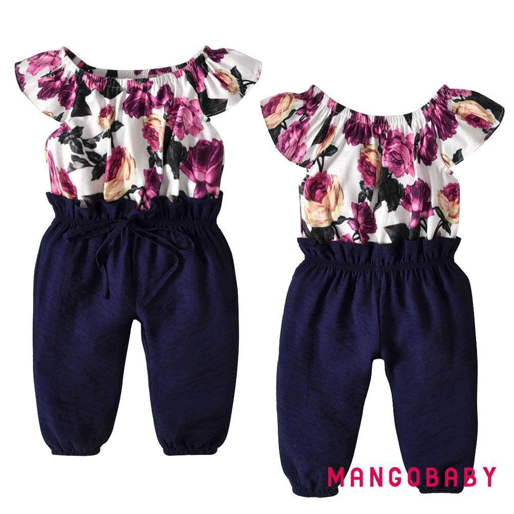 Áo tay ngắn phối bèo họa tiết hoa lá liền quần dài màu trơn cho bé gái