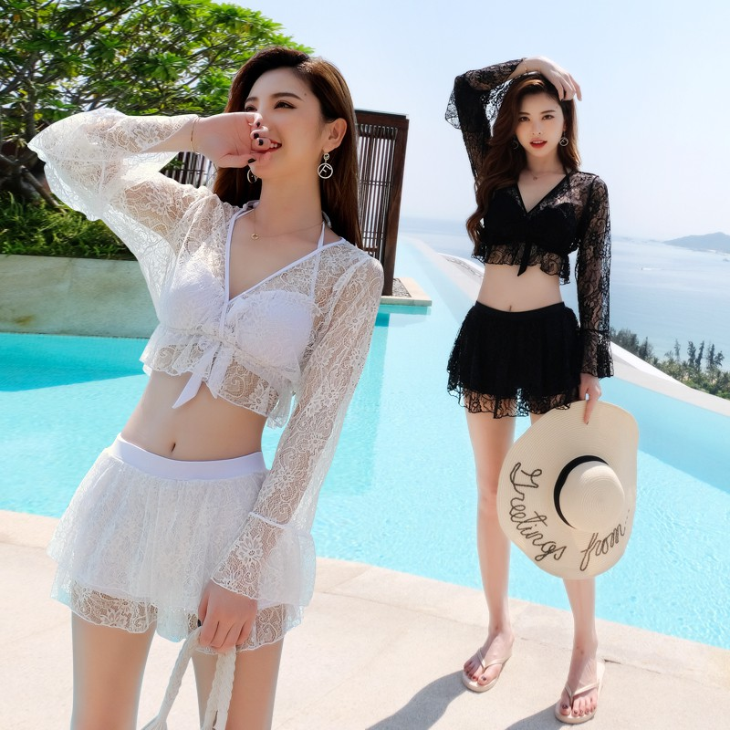 【L. 】Swimsuit ins wind fission three-piece cute Japanese students small pure and fresh hot sexy bikini girl