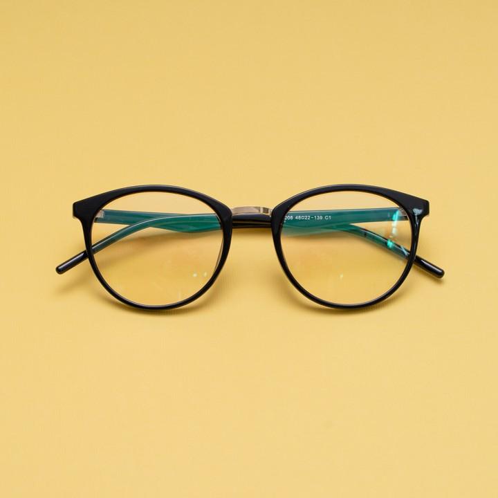 Gọng kính cận nhựa dẻo cho mặt trái xoan 4U, mắt tròn chống bụi hoặc lắp cận, màu đen và hồng – 208