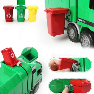 3pcs Mini Curbside Truck Trash Can Toys Storage Sanitation Garbage Can Toys