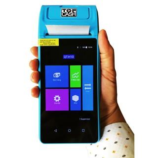 Máy tính tiền cảm ứng in hóa đơn cầm tay dùng cho Shop, quán, kiot... TOPCASH POS QT-H10 có sẳn phần mềm 25năm và máy in thumbnail