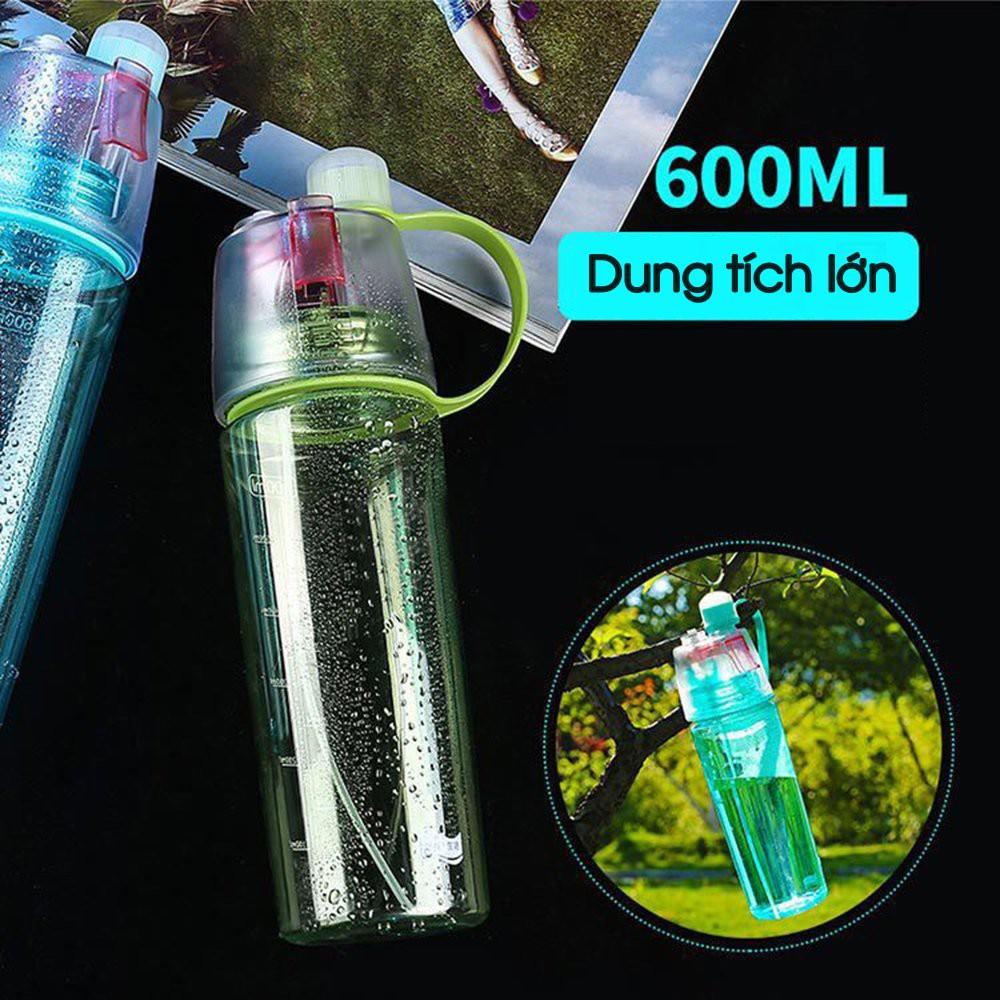 Bình đựng nước, dung tích 600ml, có vòi xịt phun sương tiện lợi, chất liệu nhự ABS an toàn, bình nước thể thao
