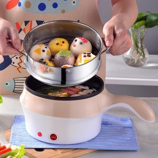 Nồi chiên nấu mini đa năng chống dính 2 tầng kèm lồng hấp inox – đồ dùng phòng bếp nấu sôi siêu tốc
