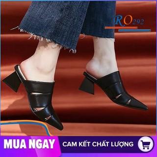 Giày cao gót nữ đẹp đế vuông 5cm hàng hiệu rosata hai màu đen kem ro292