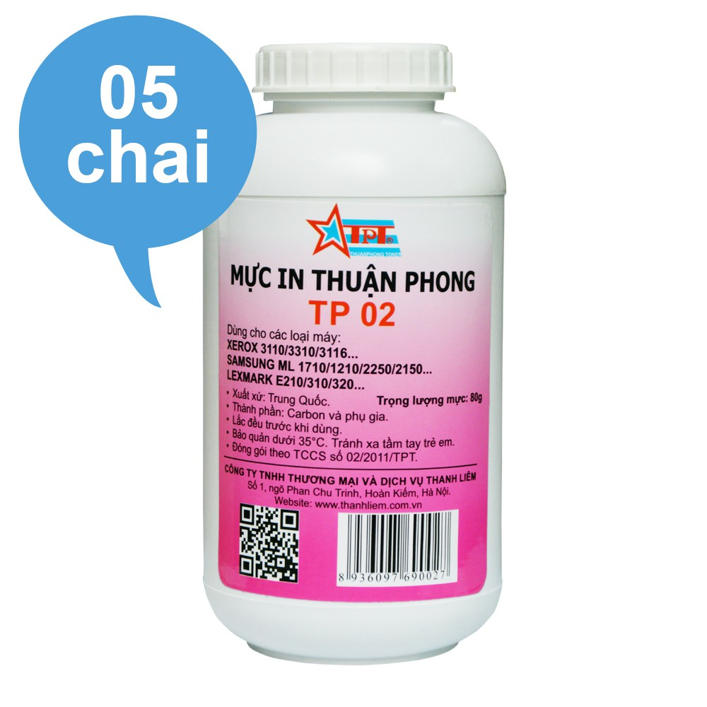 (BỘ 5 CHAI) Mực đổ Thuận Phong TP02 dùng cho máy in Samsung ML-1610/ 1620/ 2010/ 2020/ 2160/ 2165/ 1660/ 1666/ 1670
