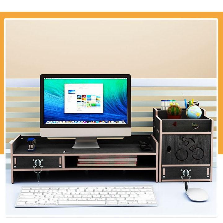 Kệ để màn hình máy tính ngăn kéo nhỏ có ổ khóa GỖ CAO CẤP 66,2X23CM (Tặng kèm giá đỡ điện thoại siêu đáng yêu)