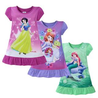 Đầm thun suông tay ngắn mềm mại in hình công chúa Disney xinh xắn cho bé gái