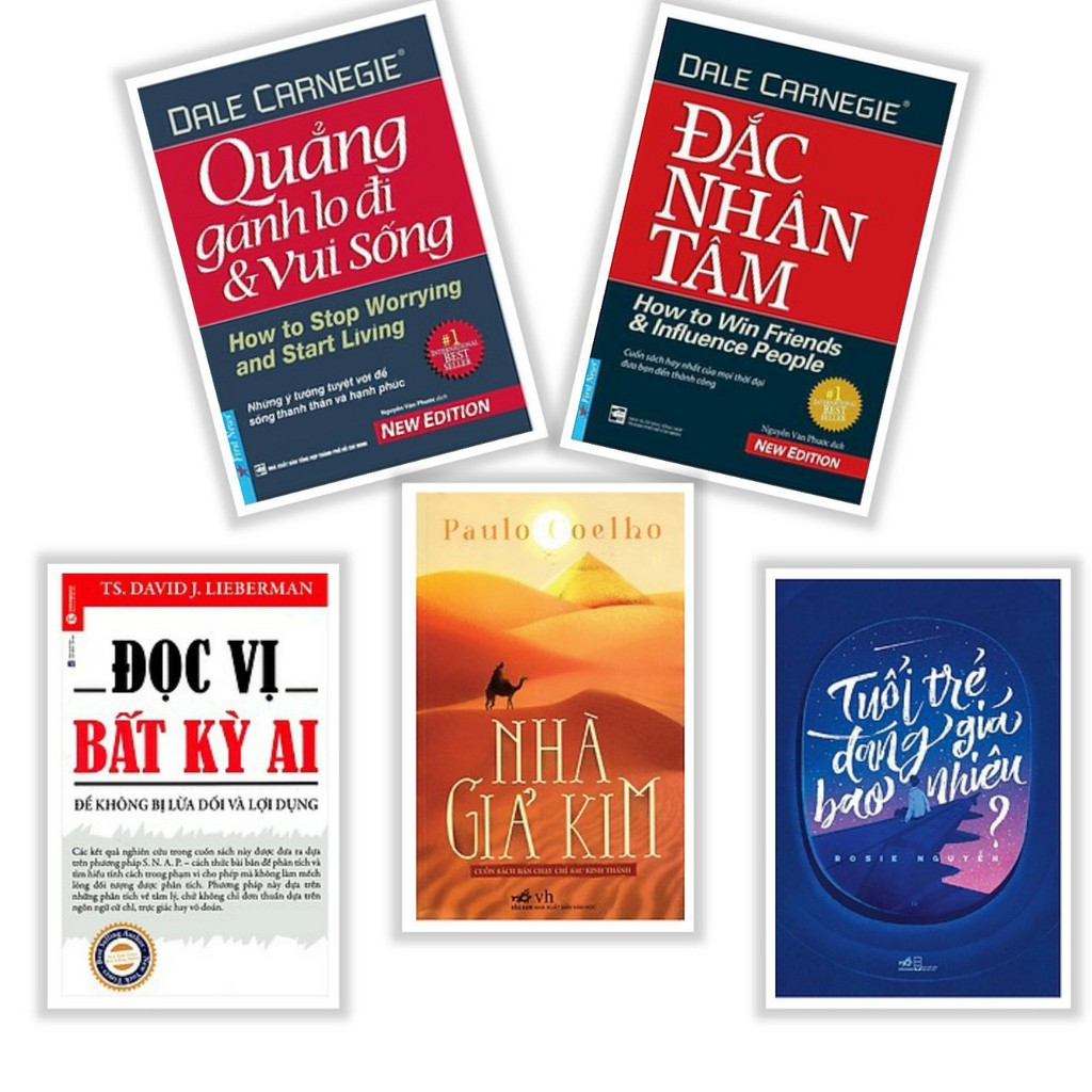 Sách - Đắc nhân tâm, Quẳng gánh lo,Đọc vị bất kỳ ai, Nhà giả kim, Tuổi trẻ đáng giá bao nhiêu(Lẻ,bộ^ tuỳ chọn))