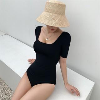 Set bikini liền thân tay ngắn khoét lưng DÂY NGANG