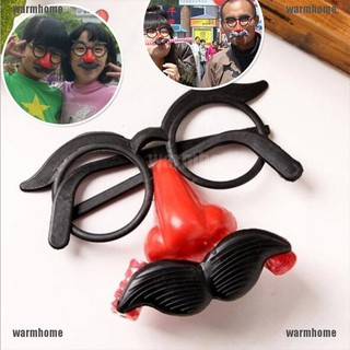 warmhome Funny Clown Glasses Costume Ball Round Frame Red Nose w/Whistle Mustache thro