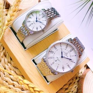 Cặp đôi đồng hồ lotumans mầu trắng. Mặt tròn đính đá viền ngoài. thumbnail