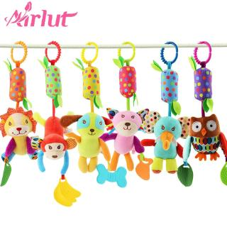 Soft Hanging Bell Toy Infant Stroller Plush Animal Wind Chime with Teether