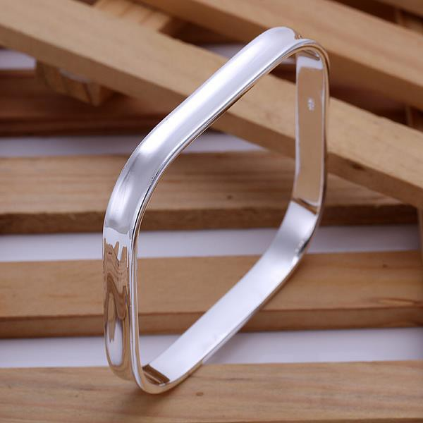 Fashion Elegant Silver Plated Geometric Square Cuff Bracelet Charm Bracelets for Women Men Jewelry