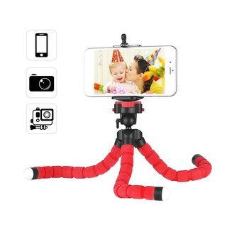 Mini Flexible Sponge Octopus Tripod Stand Holder with Smartphone Clip 1/4 Inch Screw 360° Rotating B