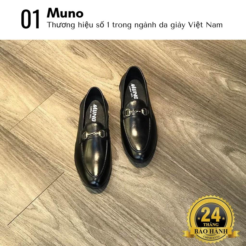 Giày lười nam Loafer Muno (05) da bò thật cao cấp cổ thấp bóng không dây thời trang giá rẻ màu đen nhiều size