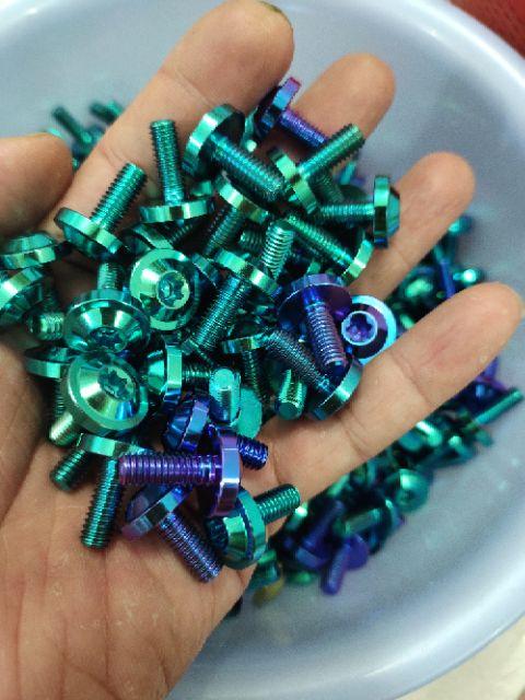 (Gr5 xịn) ốc titan 6li15 dù to dày gắn ốp pô cần ter và dàn áo các loại xe
