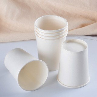 50 Ly Giấy 9oz 250ml Trắng Trơn Có Nắp Ly giấy uống nước Ly giấy size nhỏ Ly giấy cafe Cốc giấy thumbnail