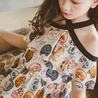 Váy xòe trễ vai họa tiết mèo xinh xắn cho bé gái Sophia V21