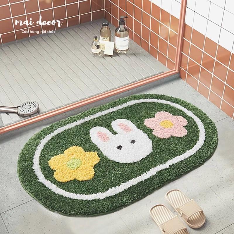 Thảm Decor, Thảm Chùi Chân Lông Cừu 3D Dễ Thương, Thảm Nhà Bếp Phòng Tắm Mềm Mịn Thấm Hút Chống Trơn Trượt