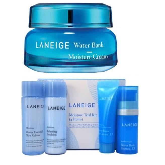 DEAL - Kem dưỡng ẩm chuyên sâu Laneige Water Bank Moisture Cream tặng bộ kit dưỡng ẩm 4 món. cam kế