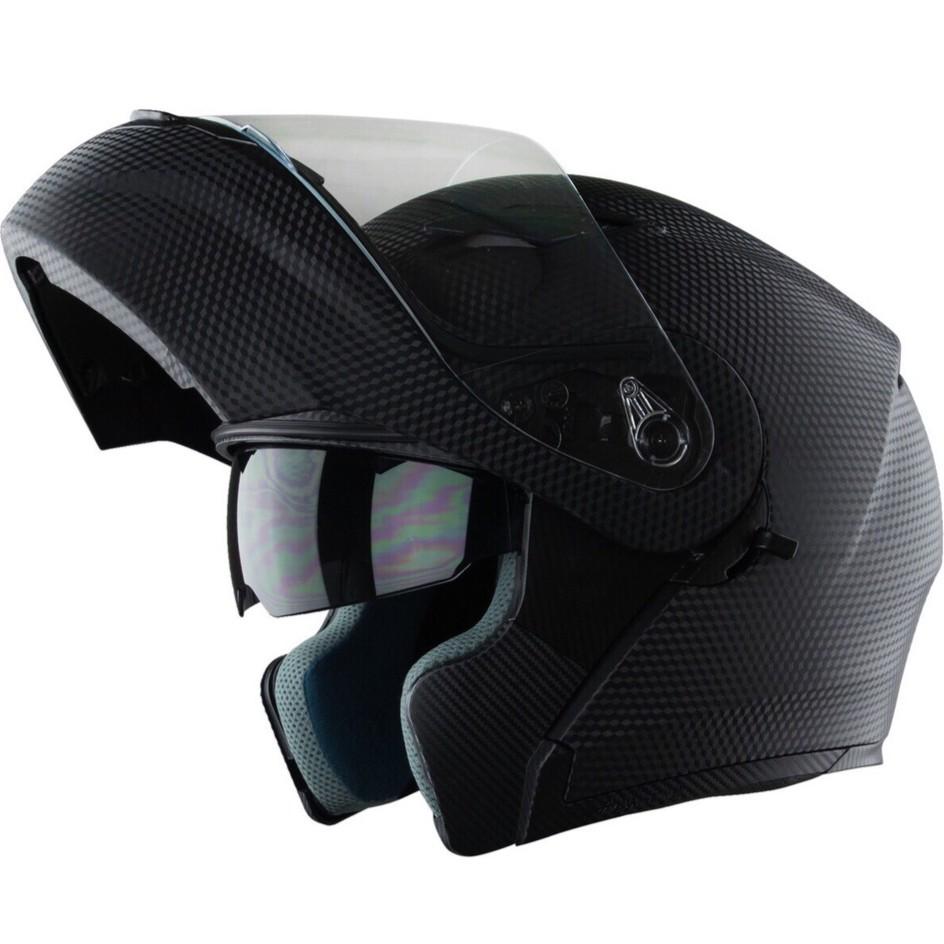 Mũ bảo hiểm Fullface Lật hàm 2 kính Royal M179 đen nhám vân Carbon
