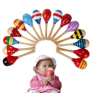 1 X Cute Baby Kids Sound Music Gift Toddler Rattle Musical Wooden Colorful