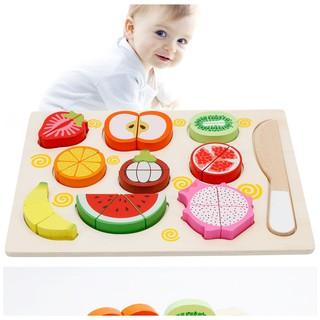 Bộ cắt trái cây-rau củ gắn nam châm bằng gỗ_TalentKids