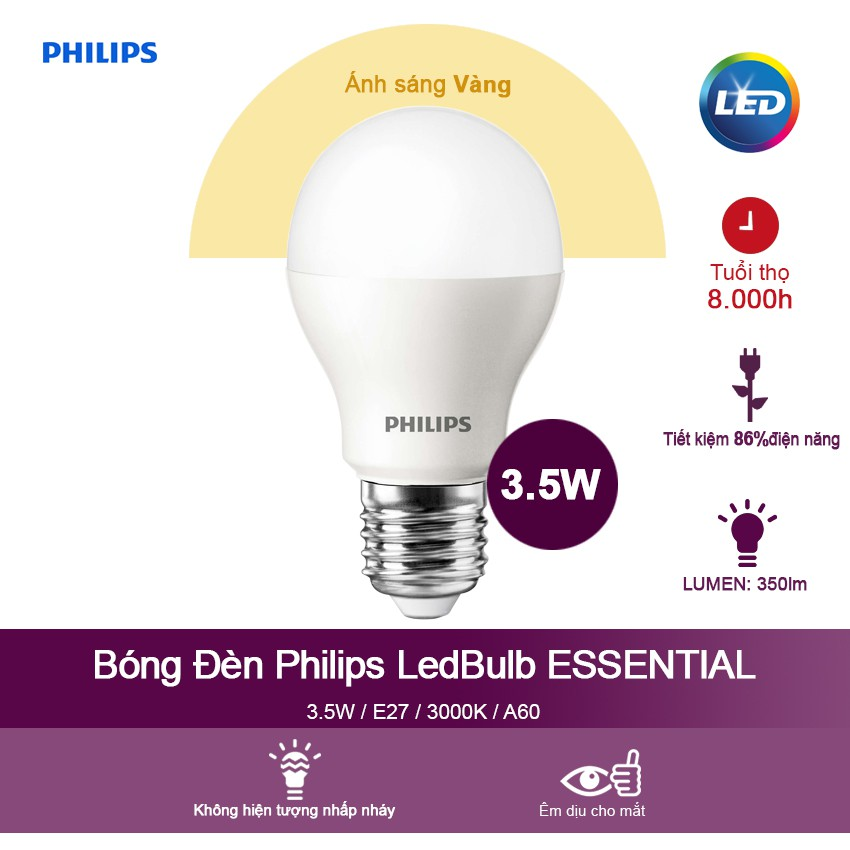 Bóng đèn Philips LED ESS LEDBulb 3.5W E27 3000K 230V A60 - Ánh sáng vàng