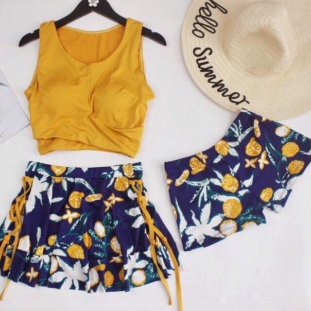 Bộ đồ bơi hai mảnh 3 chi tiết bikini kín đáo tôn dáng áo tắm đi biển mùa hè