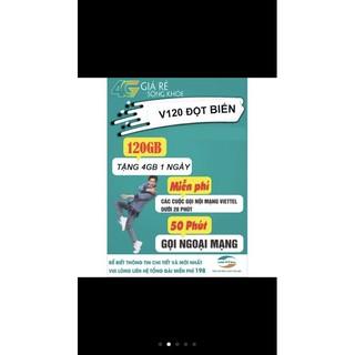 {Miễn Phí Tháng đầu khi sử dụng} SIM 4G Viettel V120n – 4gb/ngày – 120GB DATA tốc độ cao – Miễn phí gọi nội mạng
