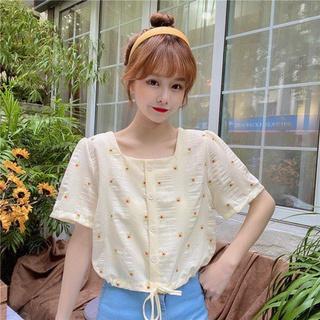 Women's Square Collar Floral Top2020Summer New Design Sense Simple Short Sleeves Mori Style Drawstring Short Shirt