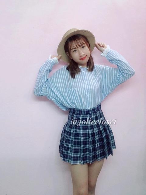 Áo sơ mi Ulzzang Tay dài hoạ tiết sọc phối ren Korea Style