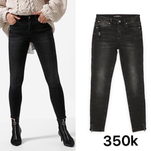 Quần jean đen mài Stra dư xịn