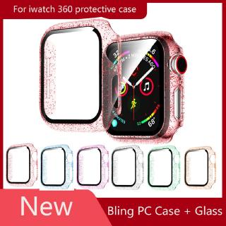 360 Bling Glass + Case for Apple Watch Series 6 SE 5 4 3 2 1 for iwatch 40MM 44MM 42MM 38MM PC Bumper with screen protector Cover Protector Film Case