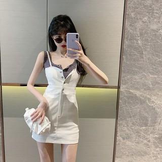 Chic Short top Korean style Spot suits Daily Goddess suit Korean A-line high-waist skirt