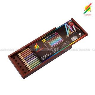 Hộp gỗ 12 cây bút chì màu nhũ