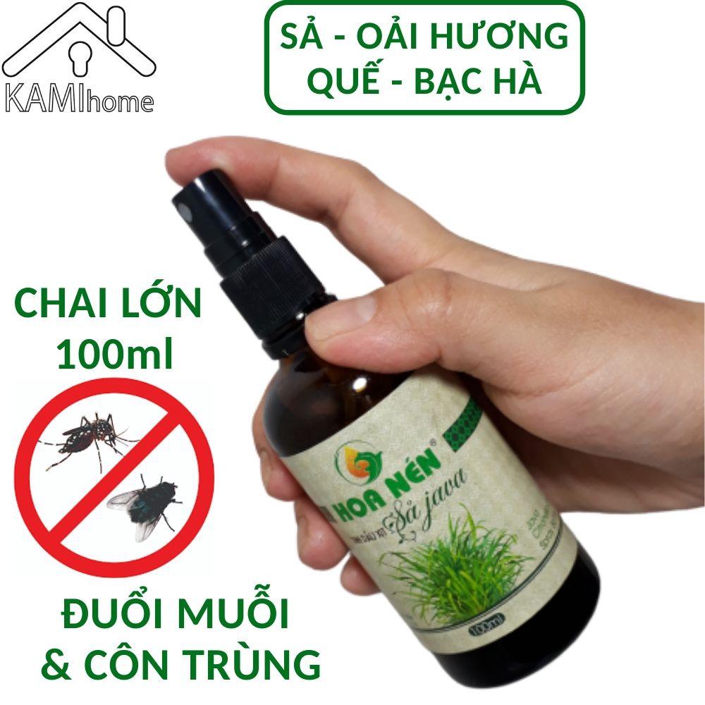 Tinh dầu thiên nhiên đuổi muỗi chai Xịt Lớn 100ml ( Sả chanh Quế Bạc Hà ) khử mùi thơm phòng Việt Nam