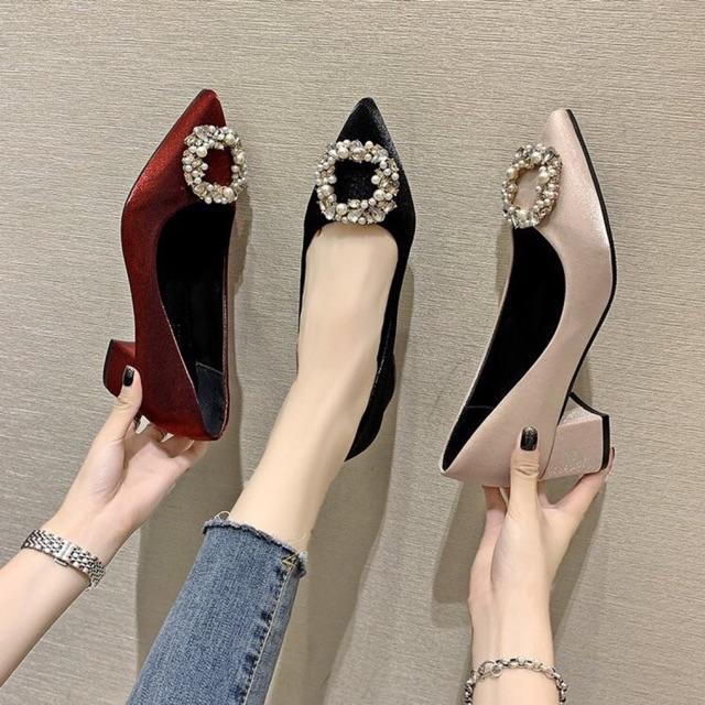(ORDER) Giày cao gót 5cm nhũ lụa mềm đá vuông BIG SIZE 35-43