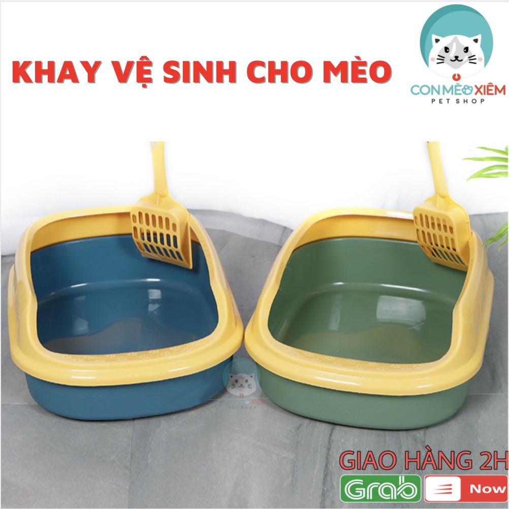 Khay cát vệ sinh cho mèo tránh văng cát - Đồ dùng vệ sinh thú cưng Con Mèo Xiêm - Vàng Xanh Matcha