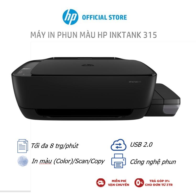 [Mã ELHPAPR giảm 5% đơn 100K] Máy In Phun Màu Đa Năng HP Ink Tank 315 (In Copy Scan Đen-Z4B04A) - Hàng Chính Hãng