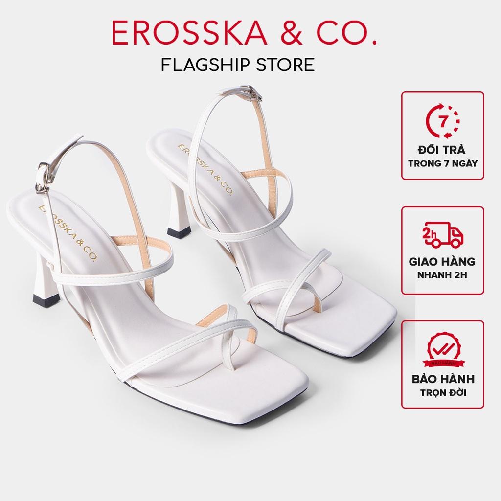 [Mã WABR151 giảm 10% đơn 99000] Giày cao gót Erosska phối dây xỏ ngón cao 7cm màu trắng _ BM004