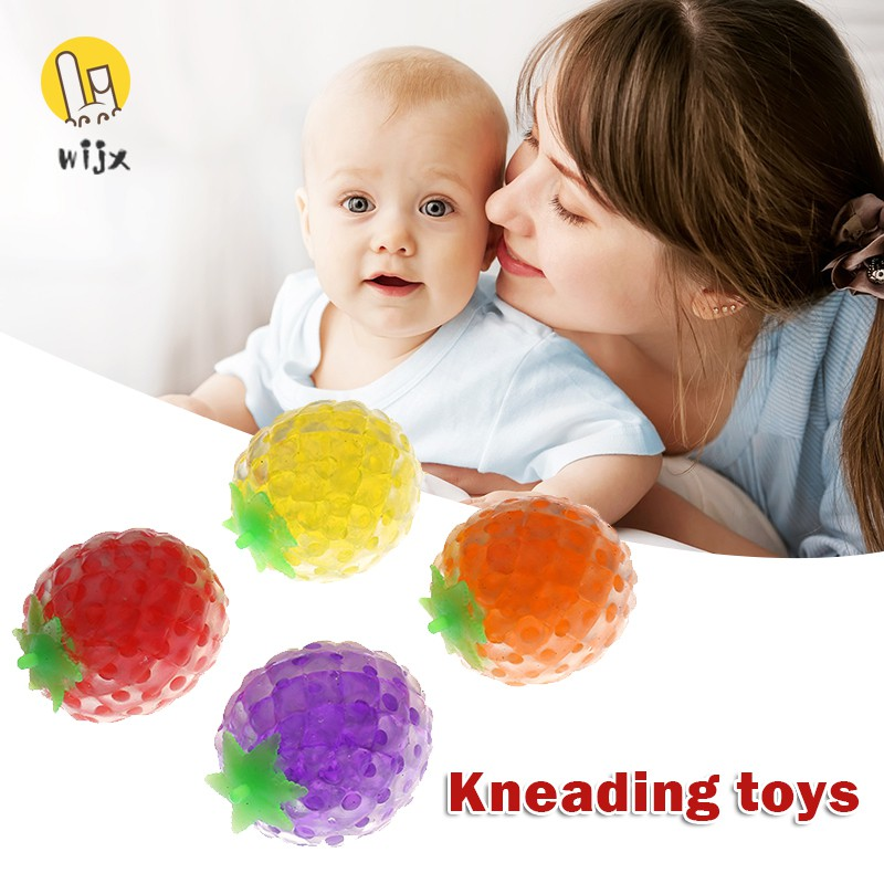 WiJx 4pcs Fruit Gel Balls Squishing Beaded Fidget Toy Stress Reliever Toys for Adult Kids Novelty Gifts .VN